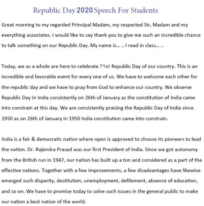 Principal Speech on Republic Day in English