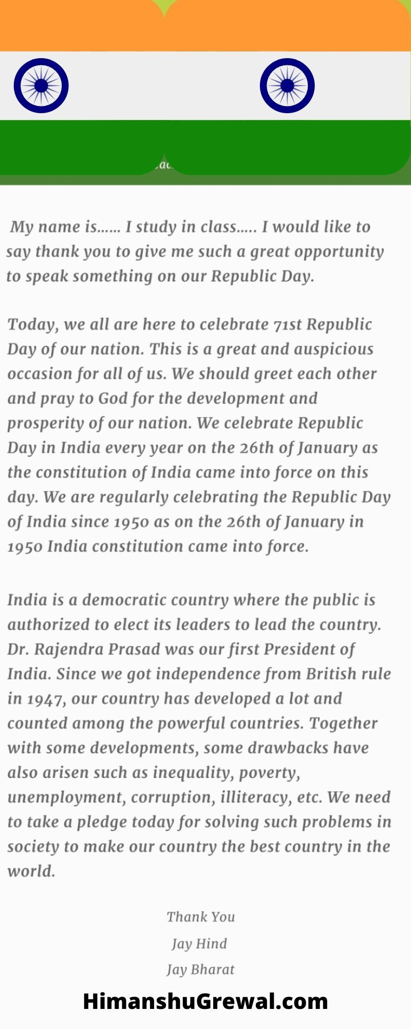 Republic Day Speech in English for Teachers