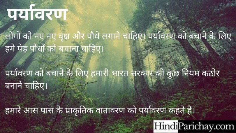 10 Lines on Environment in Hindi