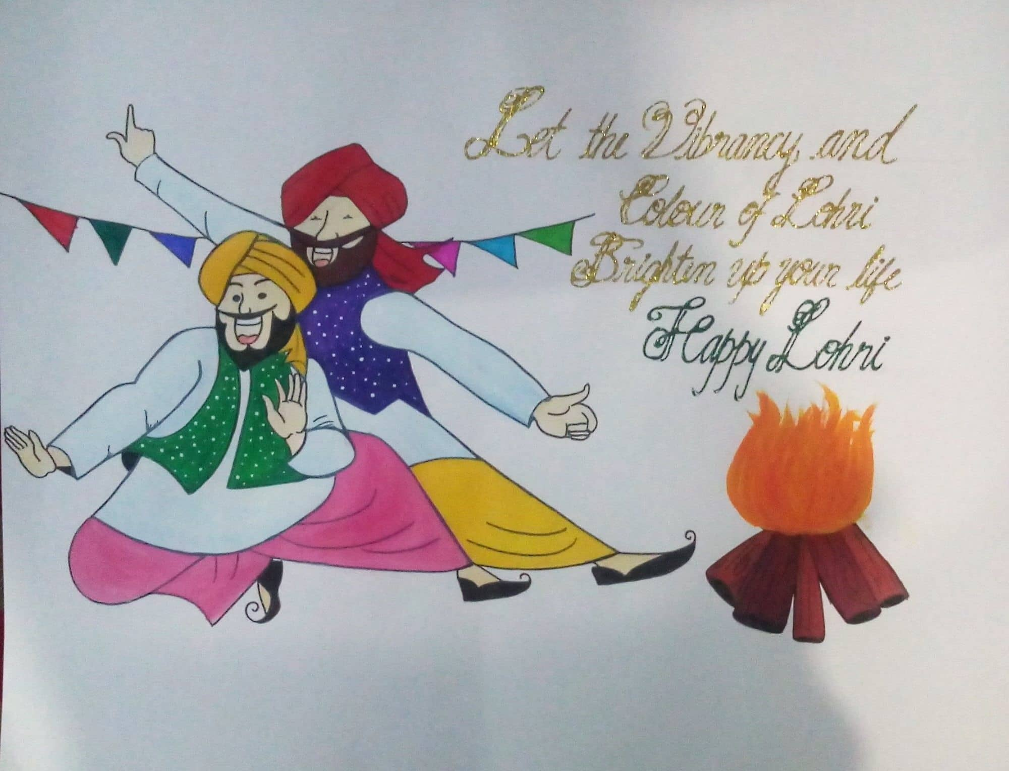 Happy Lohri Images for Drawing