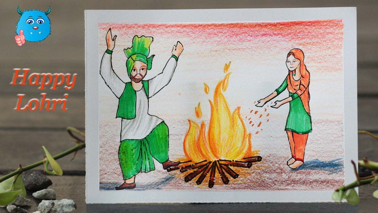 Happy Lohri Drawing Pictures
